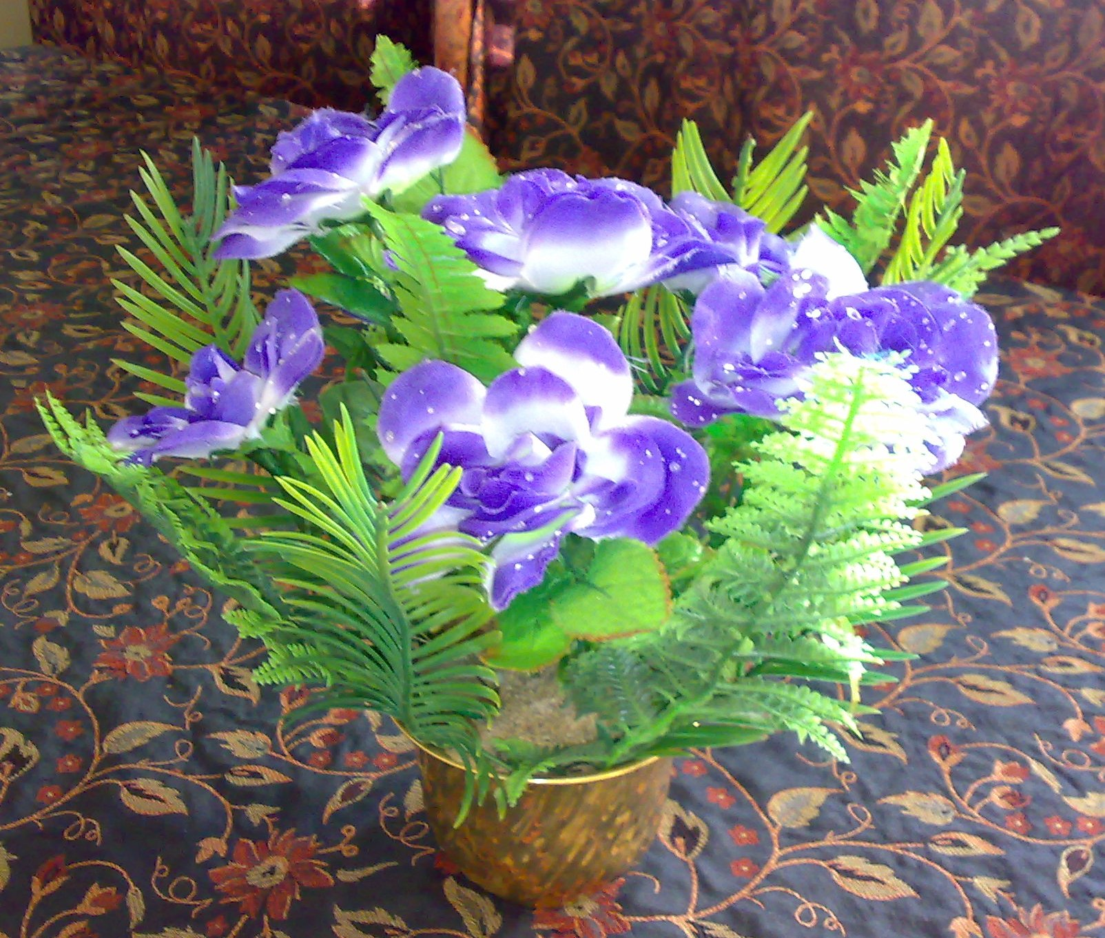open half round flower arrangement